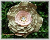 Krepprose Zweif Goldlachs Floristenkrepp Ca 11 Cm Mit Acrylstein Und Pindeko
