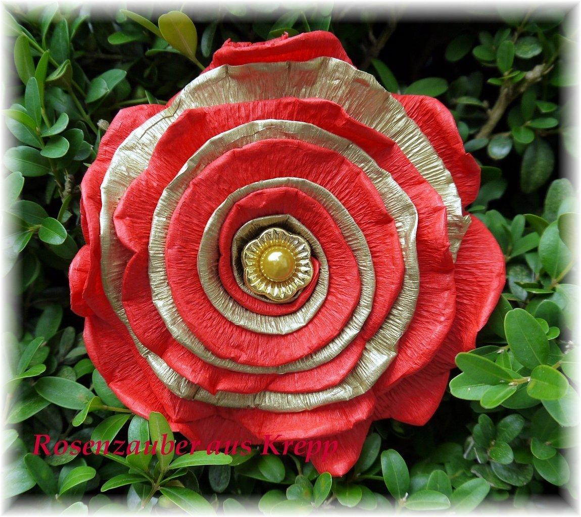 Krepprose Feuerrotgold Mit Pinperlendeko Floristenkrepp Ca 11 Cm